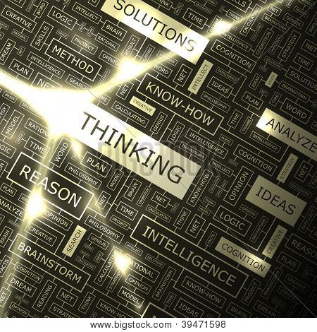 THINKING. Word collage. Vector illustration.
