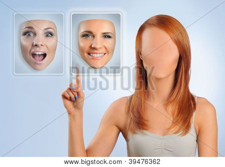 faceless woman choosing happy face