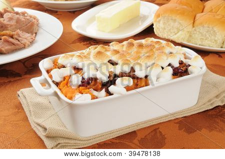 Sweet Porato Casserole With Diner Rolls