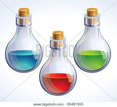 Vector Set Of Three Bottles With Poison