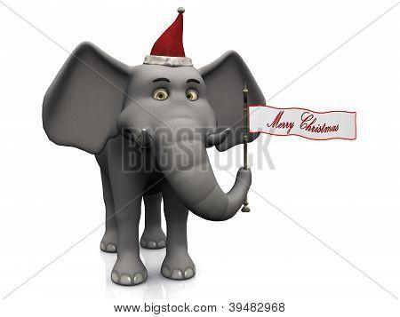 Cartoon Elephant Holding Merry Christmas Flag.