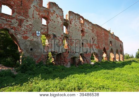 Ruins Of Brandenburg Castle In Ushakovo, Kaliningrad Region. Russia