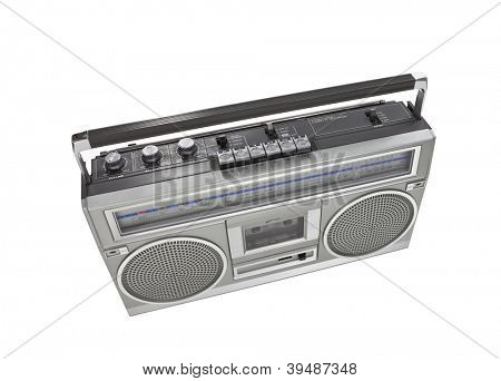 Retro boom box stereo isolated with clipping path.