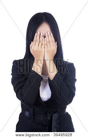 Businesswoman Cover Face Isolated In White
