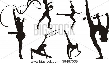 rhythmic gymnastics with apparatus - silhouette