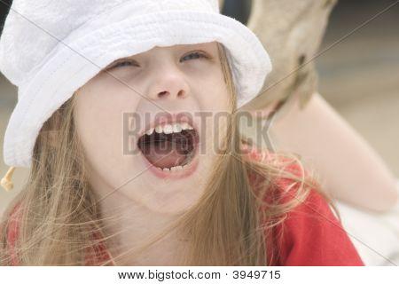Portrait Of A Shouting Beautiful Girl