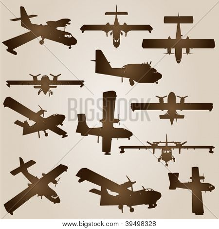 Vector vintage old set of brown planes drawings on a beige background. It is a group or collection of aircrafts ideal for grungy, travel, flight,transport,retro,antique,business or commercial designs