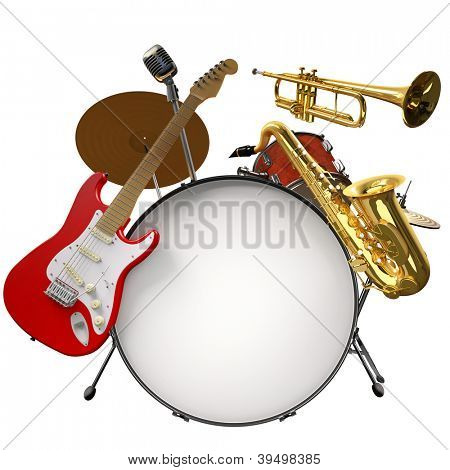 Jazz montage consisting of a drum kit, electric guitar, microphone, saxophone and trumpet on a white background