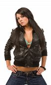 Woman In Black Leather Jacket