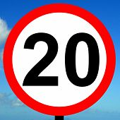 foto of mph  - A view of a 20 mph speed limit sign - JPG