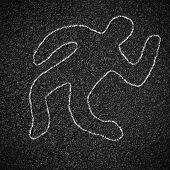 pic of accident victim  - Chalk outline of dead body on asphalt road - JPG
