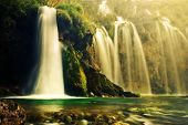 pic of crystal clear  - Waterfall in forest - JPG