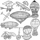 pic of lithographic  - Sketch of different early flying machines over white background - JPG