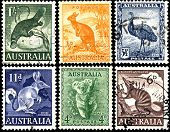 picture of platypus  - Old postage stamps of Australia Circa 1937 - JPG