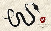 stock photo of chinese new year 2013  - Chinese New Year of the Snake brush artwork illustration over pattern background - JPG
