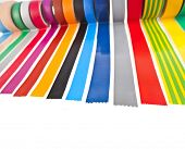 pic of gaffer tape  - border of colourful insulating adhesive tape isolated on white background - JPG