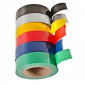 foto of duplex  - Multicolored insulating tapes roll  isolated on white background - JPG