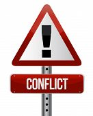 image of conflict couple  - conflict warning sign illustration design over white - JPG