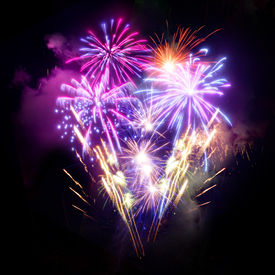 stock photo of guy fawks  - A large Fireworks Display event - JPG