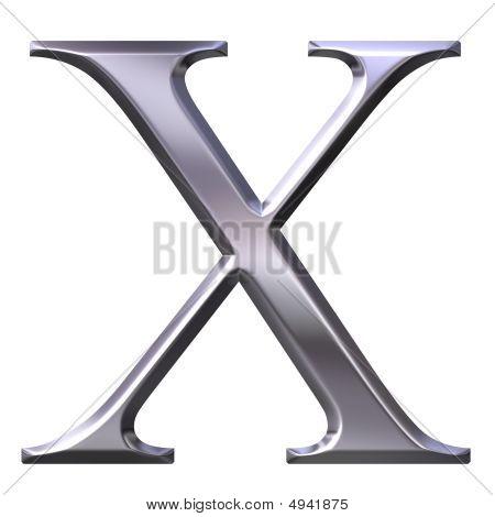 3D Silver Greek Letter Chi