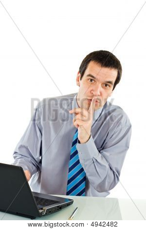 Businessman Show Silence Sign