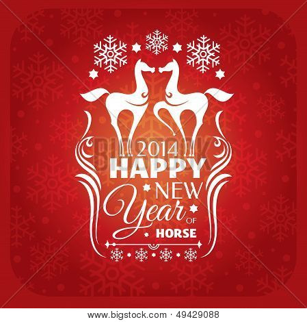 New Year Card With Horses And Snowflakes