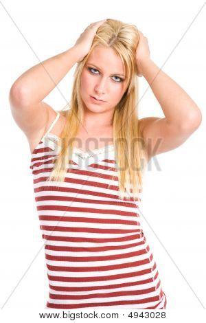 Sad And Depressed Beautiful Caucasian Woman