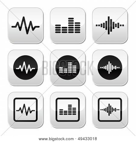 Soundwave music vector buttons set