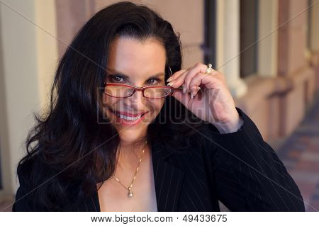 Business Woman With Reading Glasses