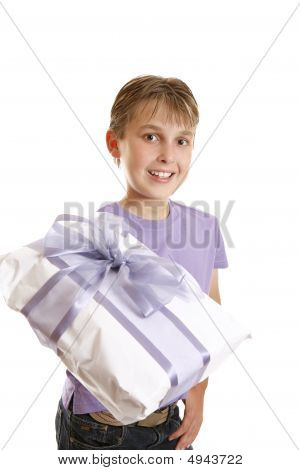 A Boy Holding A Wrapped Present