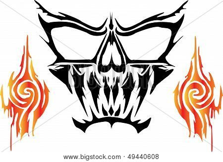 ghost tattoo skull with fireon white background