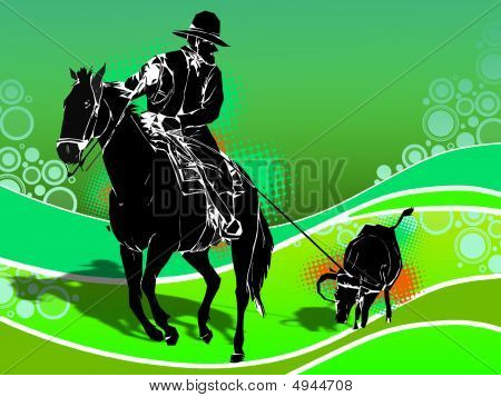 Illustration of a jockey riding his horse