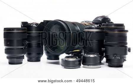 professional digital photo camera against white background
