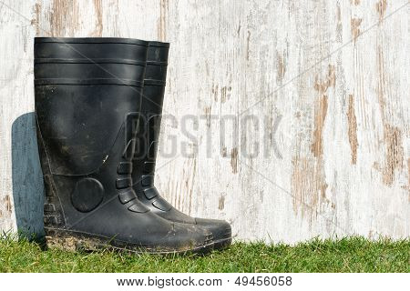 Rubber Boots On The Grass