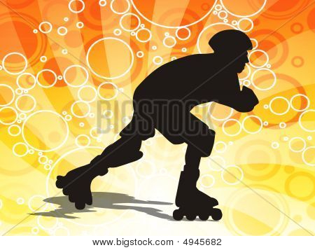 Illustration of a young man on roller skates