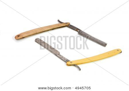 Two Old Rusty Razors Isolated