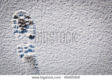 Snow Foot Print Background.