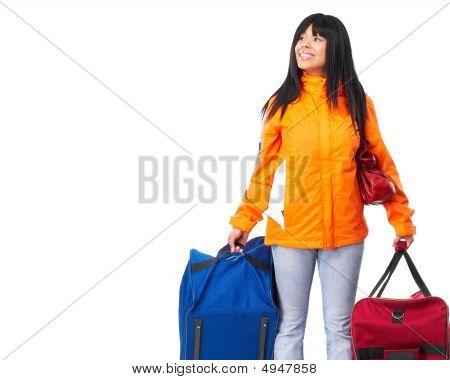 Happy Tourist Woman