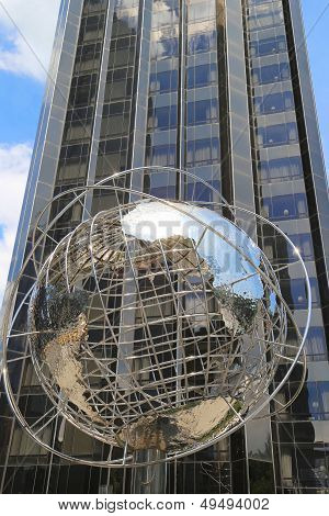 Globe in the front of Trump International Hotel and Tower at Columbus Circle, Manhattan, New York