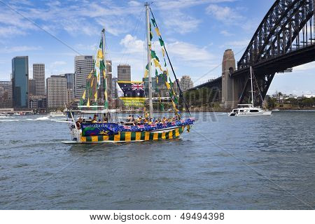 Decorated Yacht Sails Under Sydney Harbour Bridge On Australia Day