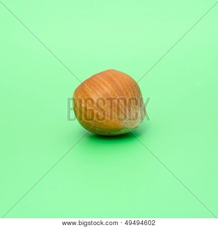 close-up of a whole hazelnut isolated on green background