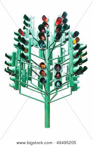 Multiple Large Traffic Lights Post Made From Green Metal
