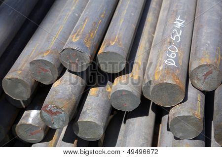 bars of reinforced steel as background
