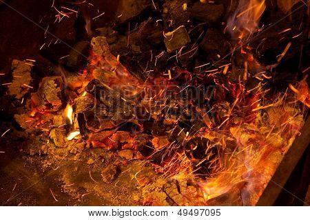 hot sparking live-coals burning