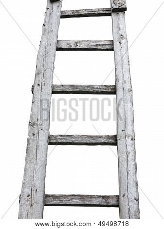 Old Wooden Vintage Cuve Ladder Isolated Over White