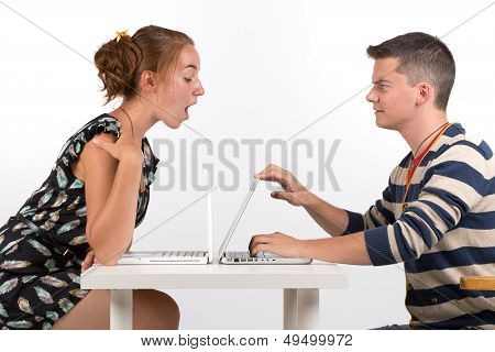 Young Boy And Girl With Computer