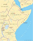 pic of eritrea  - Political map of East Africa with capitals - JPG