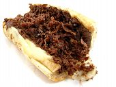 picture of cheesesteak  - A Philly cheesesteak sandwich on a white background - JPG