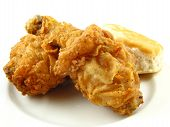 stock photo of southern fried chicken  - Crispy friend chicken drumstick and thick on a white plate - JPG