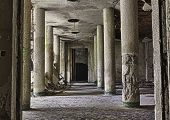stock photo of collapse  - interior of abandoned building with rubble and debris  - JPG